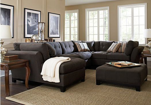 Cindy Crawford Home Metropolis Slate Left 3 Pc Sectional At Home
