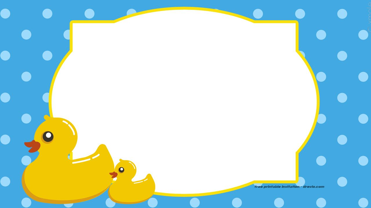FREE Printable Rubber Duck Invitation Template in 2018 | Free ...