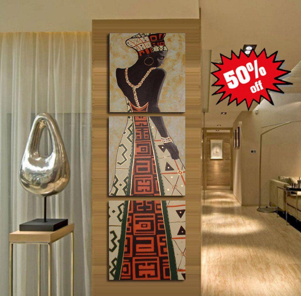 Beautiful framed african art piece canvas print set african art
