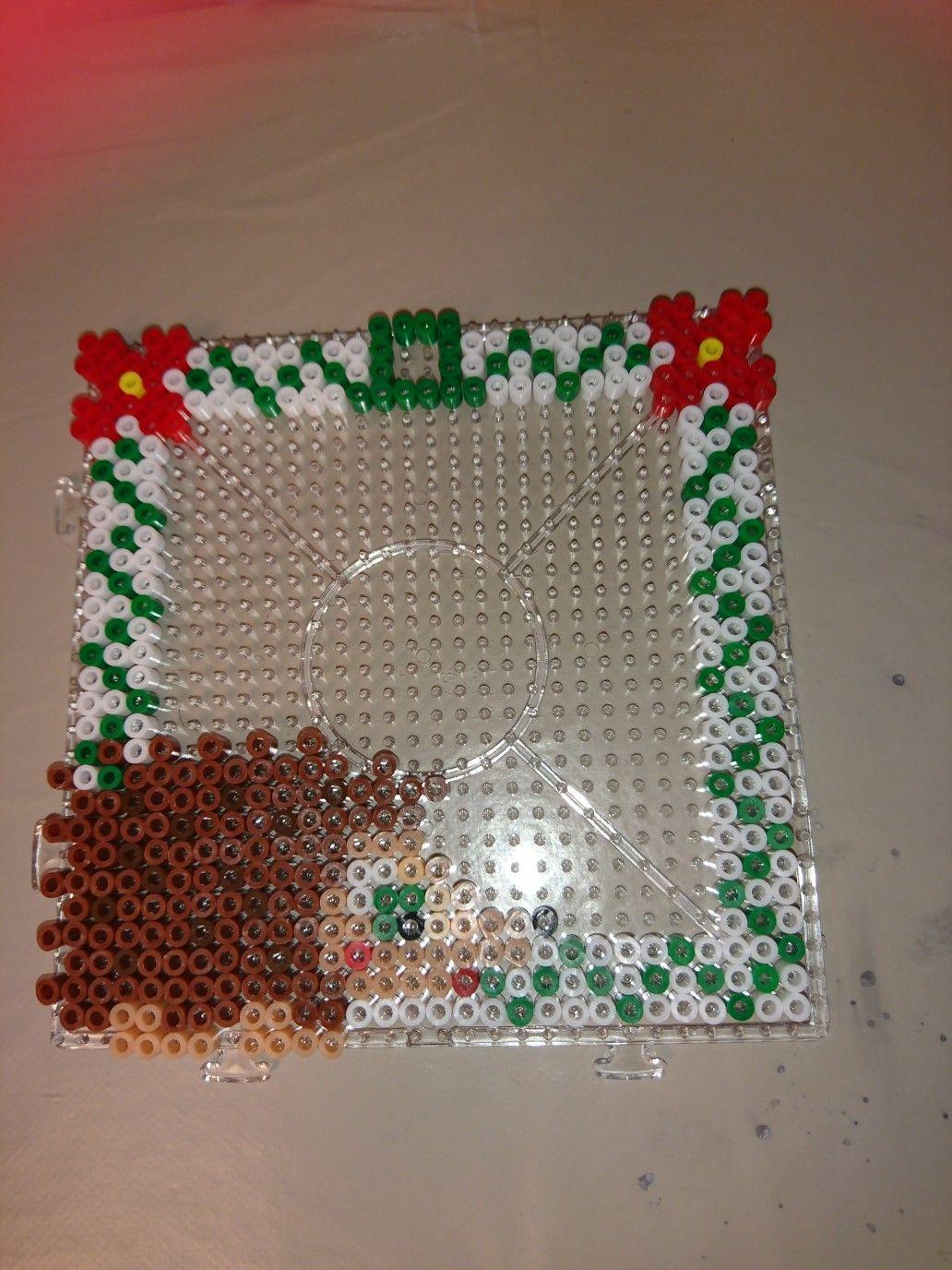 Hama beads hedgehog hang up frame
