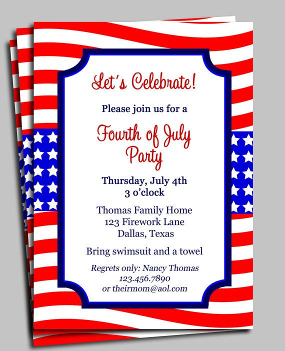 Fourth Of July Invitation Printable Celebration Birthday Etsy Fourth Of July Cardstock Printing Invitations