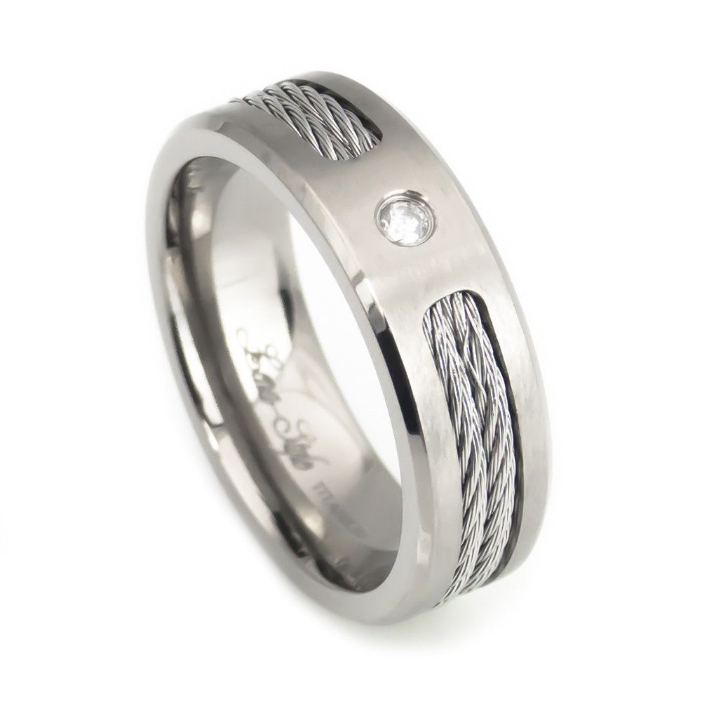 Diamond Steel Twisted cable mens titanium wedding bands Diamond