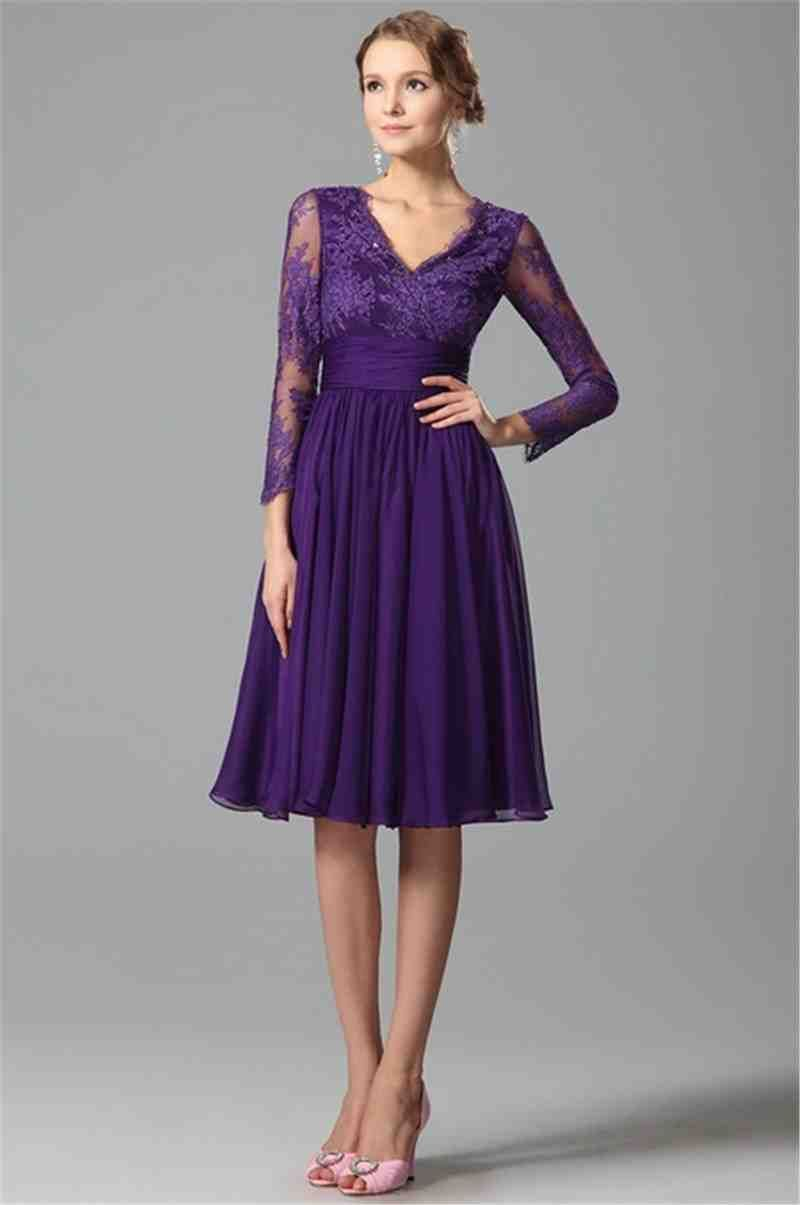 Cocktail purple dresses with sleeves photo