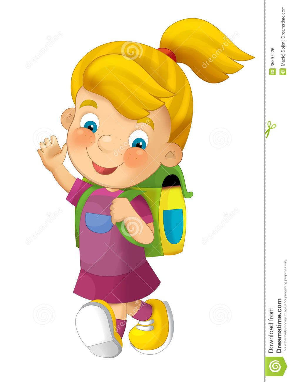 cartoon child going to school illustration for children royalty free stock image image - Children Cartoon Pictures