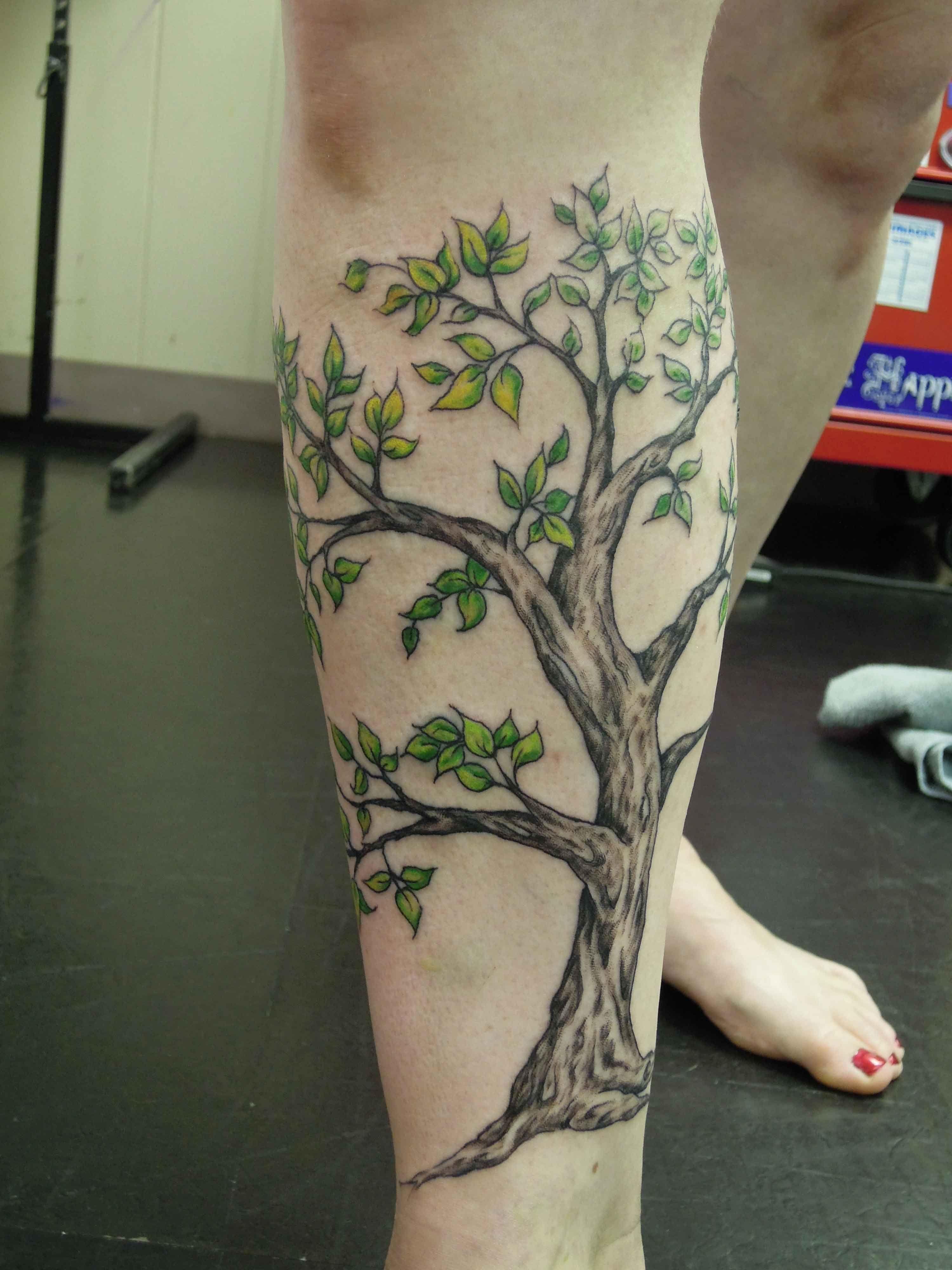 44a7be16f24e5 Tree Tattoos On Lower Leg Leg tree tattoo design | Tattoos for ...