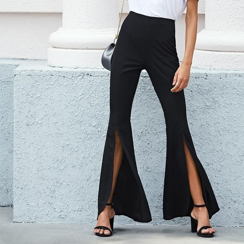 c65282f37fce49 Black Split Front Flared Plain Pants in 2019 | fitsss | Split pants ...