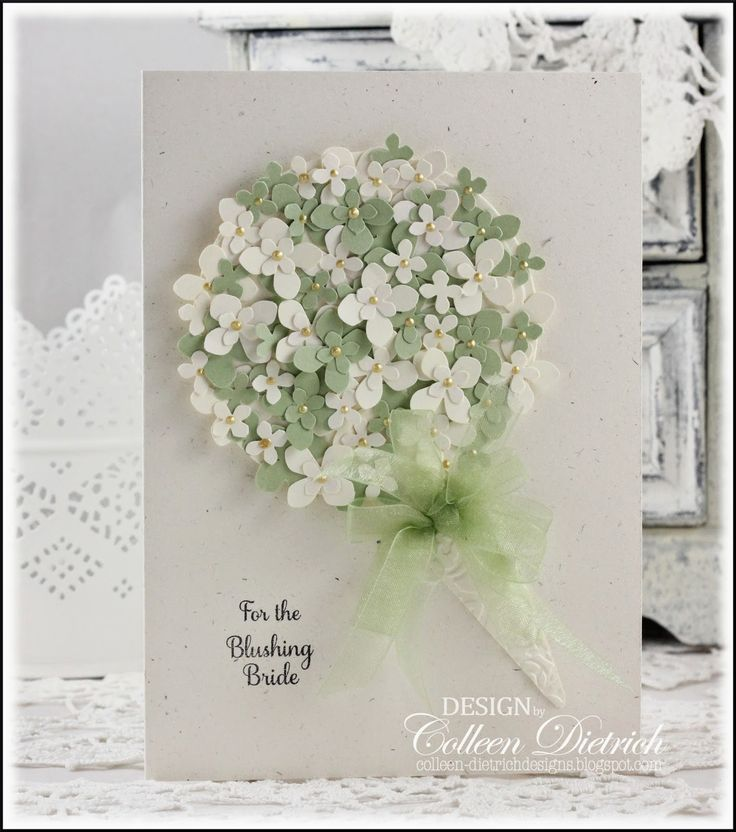 The Card Concept / Dietrich Designs. Bridal shower card featuring a paper hydrangea bouquet, punched and layered on a die cut circle. Sentiment is from Papertrey Ink.