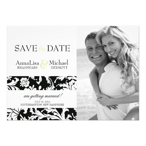 Damask Photo Save the Date Announcement Lime