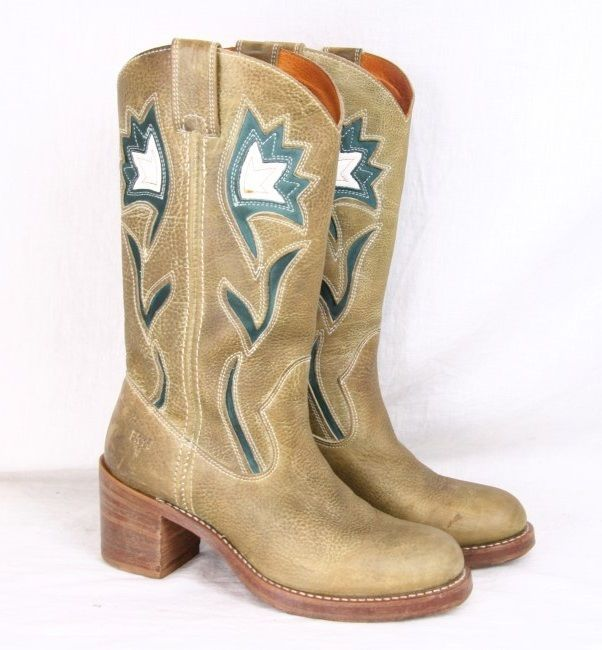 8d246251730 FRYE Sabina Vintage Brown Olive Leather Western … | Womens Leather ...