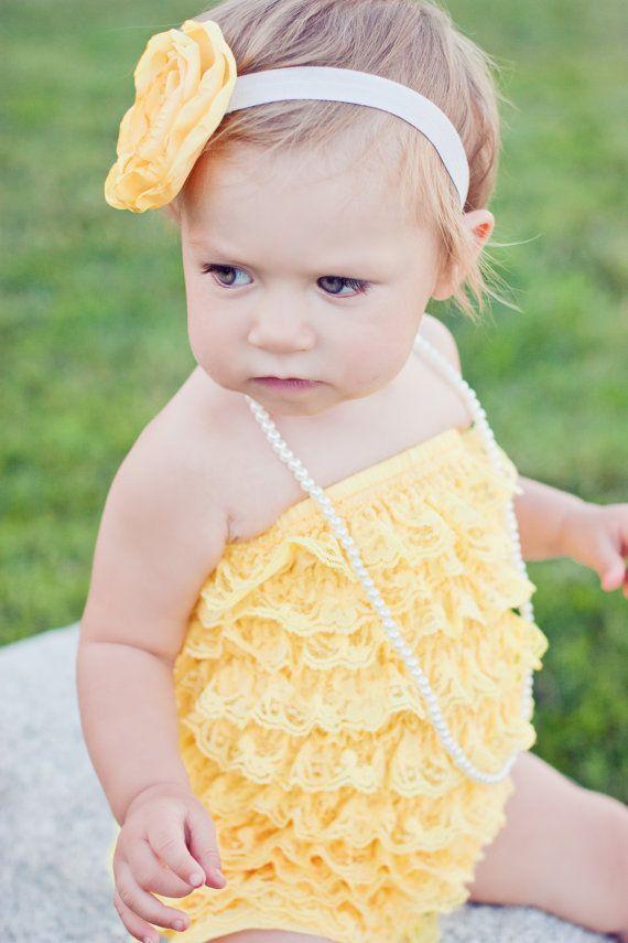 3cdfc6bb2b9ee Girls Strapless Yellow Petti Romper // Yellow Baby Romper // Perfect ...