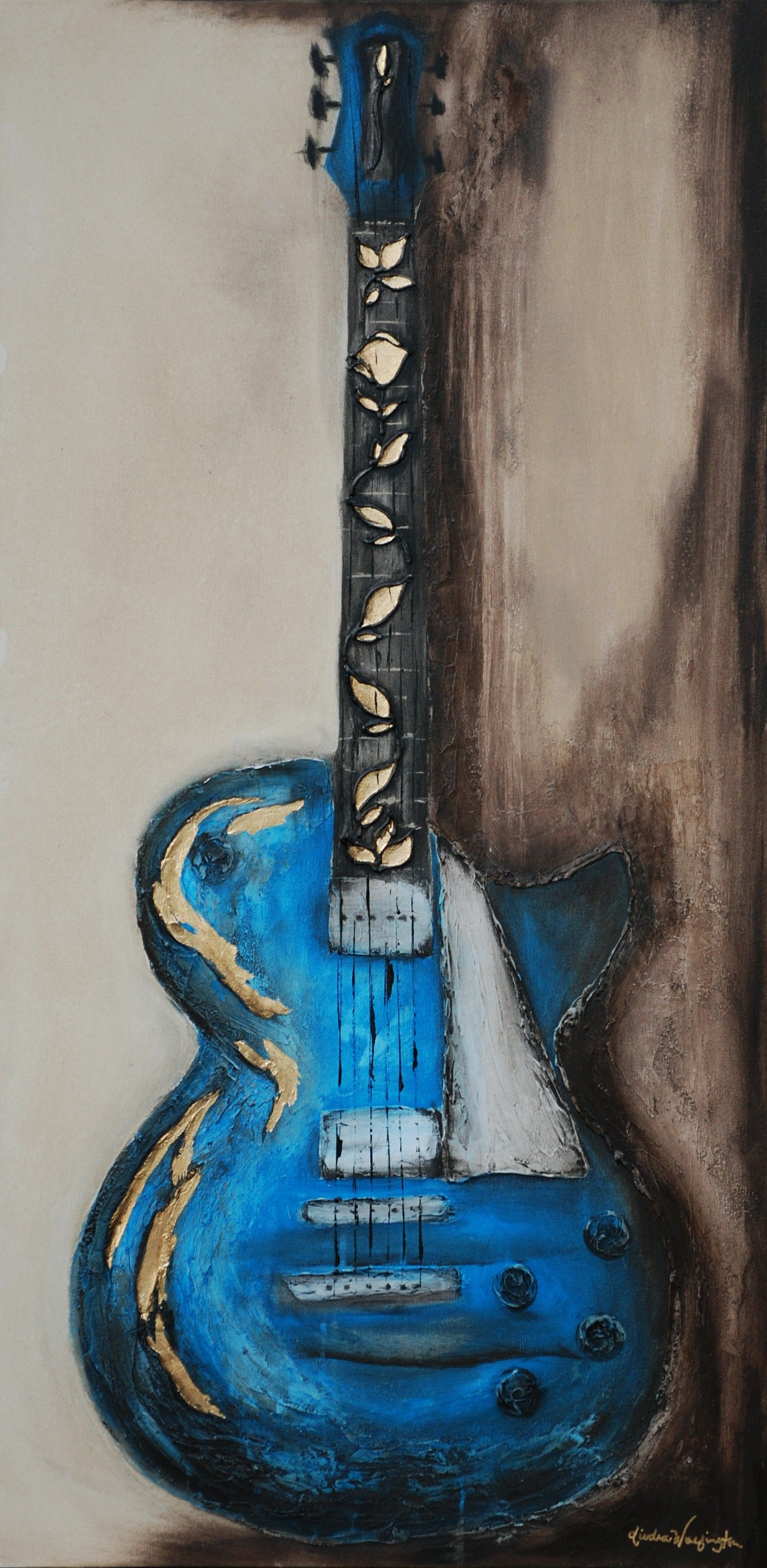 abstract guitar painting with gold leaf 775 by diedra wolfington paint art music painting. Black Bedroom Furniture Sets. Home Design Ideas