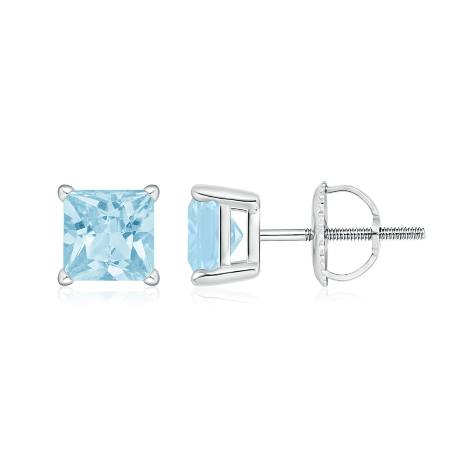 Angara Four Prong Set Square Aquamarine Basket Stud Earrings in White Gold