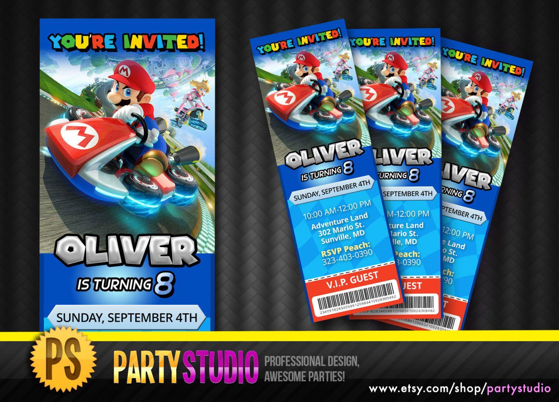 Mario Kart 8 Birthday Ticket Invite Customizable by Partystudio