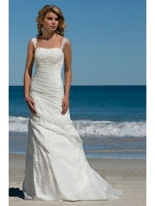 Find This Pin And More On Wedding 2015 Simple A Line Spaghetti Straps Taffeta Summer Beach Bridal Dress