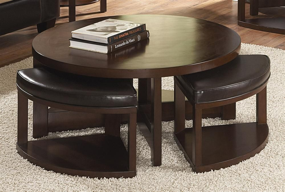 Tremendous Round Coffee Table W 4 Nesting Ottomans In Wood Leather Dailytribune Chair Design For Home Dailytribuneorg