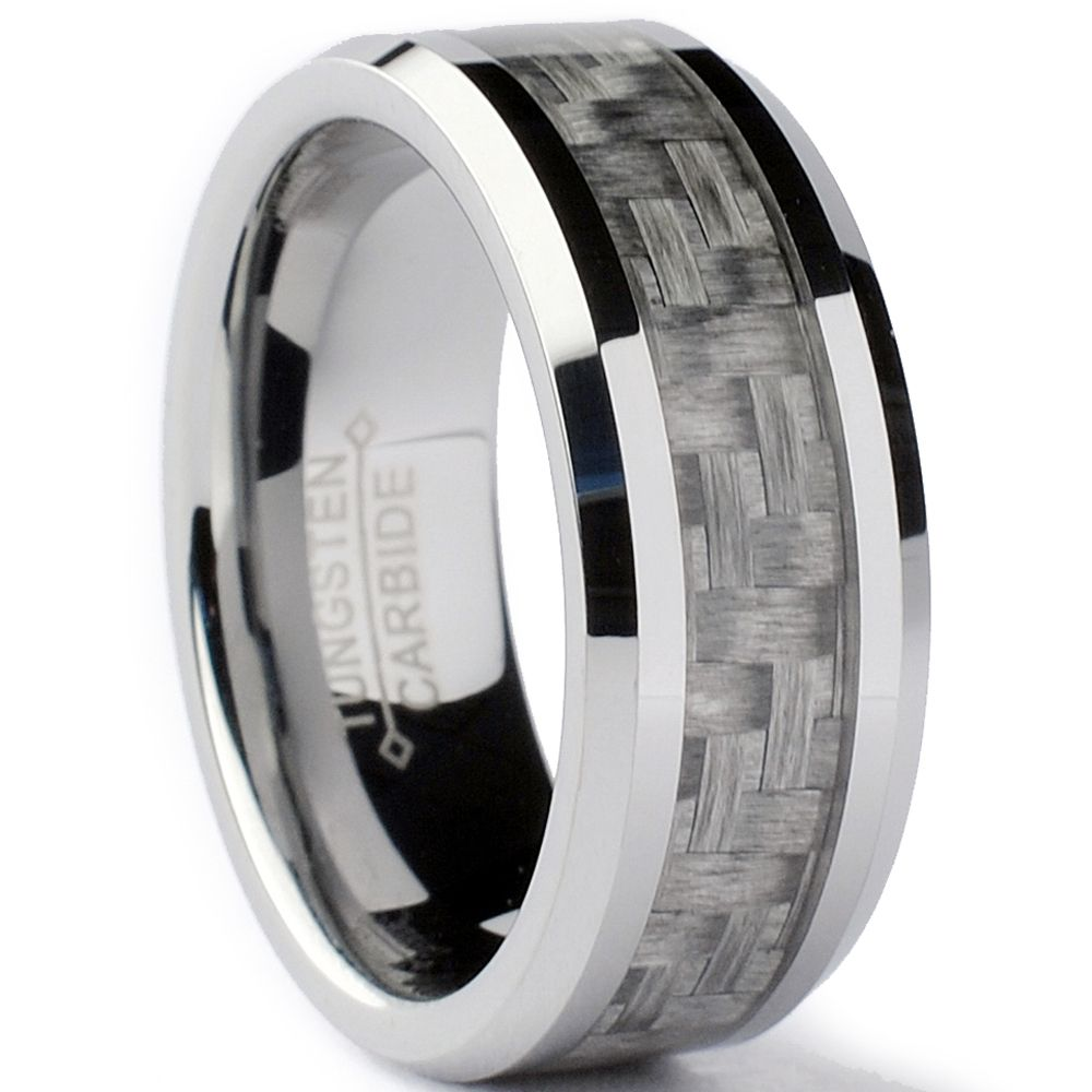 Tungsten Carbide Men s Grey Carbon Fiber Inlay Ring 8 mm