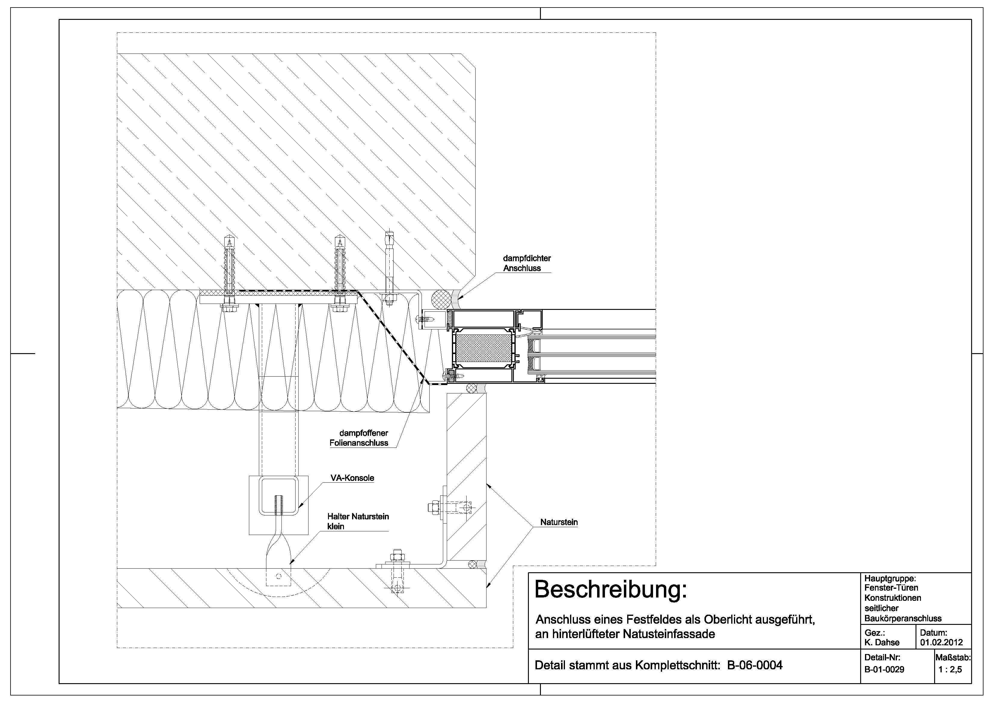 Oberlicht detail dwg  B-01-0029 Anschluss eines Festfeldes als Oberlicht ausgeführt an ...