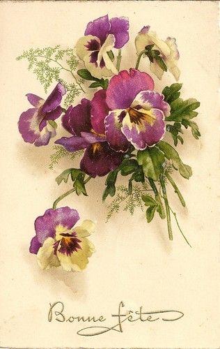 Carte Postale Fantaisie Bonne Fete Bouquet DE Fleurs | eBay
