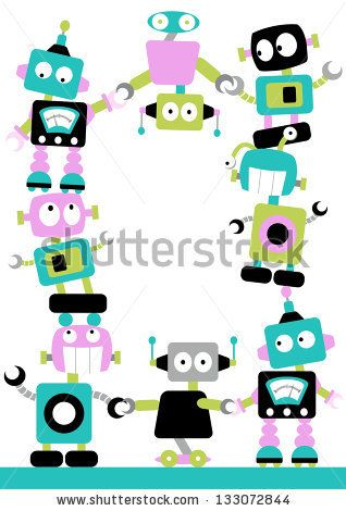 Fun Robots Border Cute And Colorful Robots Linking Together In A