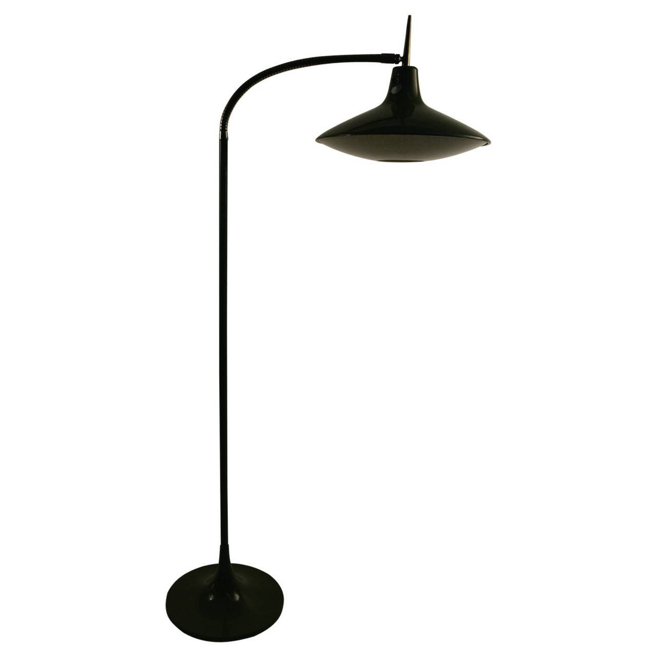 A Mid Century Modern Gooseneck Floor Lamp With Two Cone Shaped