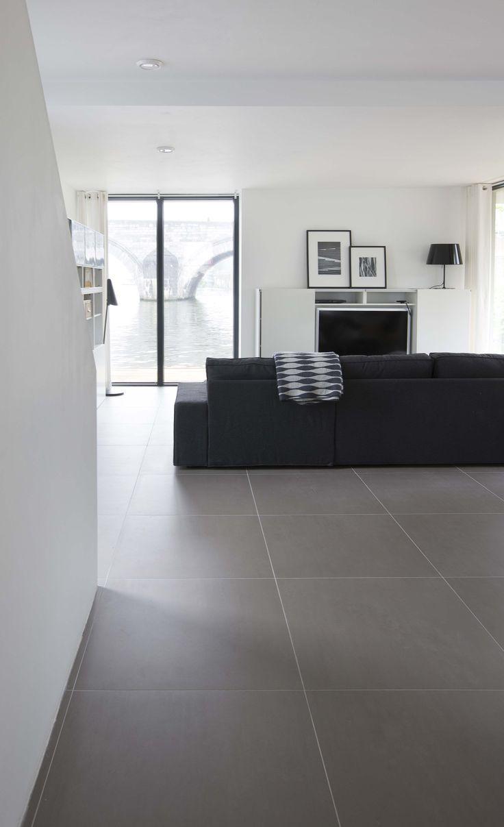 modernes Wohnzimmer, schlichtes Feinsteinzeug in grau, quadratisch