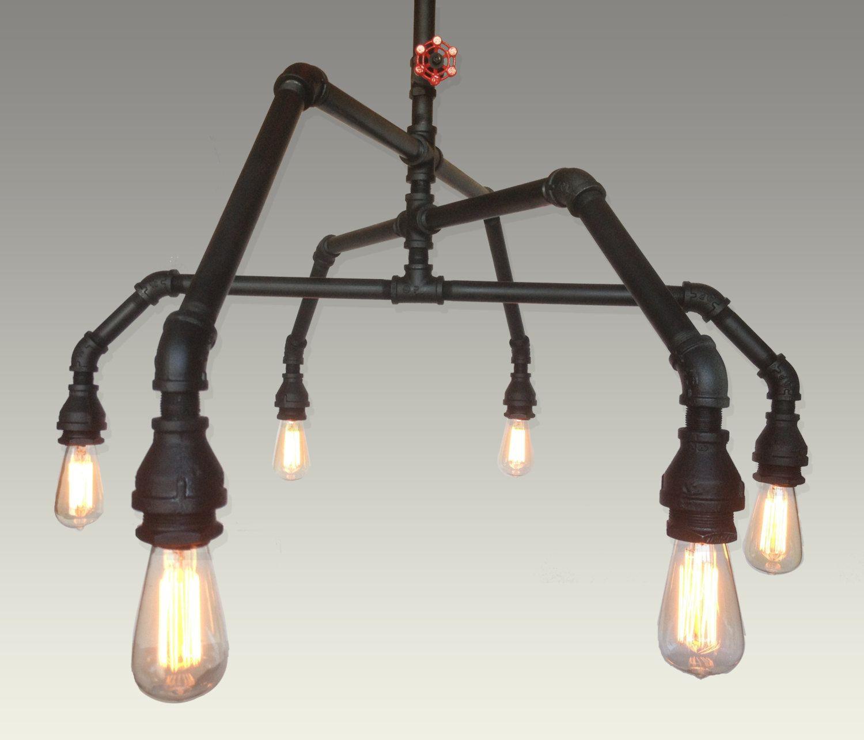 industrial pipe lighting. Industrial Steel Pipe Pendant Edison Chandelier Light. $899.00, Via Etsy. Lighting