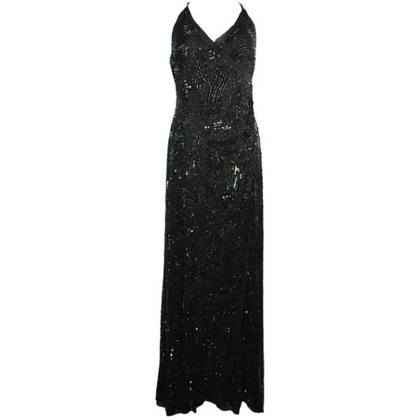 Preowned Giorgio Armani Gorgeous Black Beaded Long Evening Gown ...