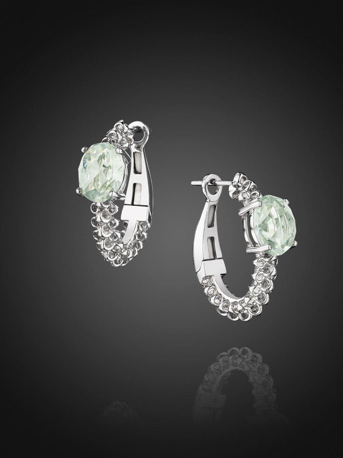 Di Modolo Eternity Medium J Hoop Earrings With Green Amethyst In Sterling Silver