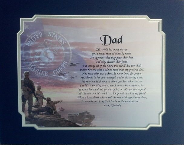 Father Gift Military Dad Navy Veteran Gift,Fathers Day Gift Custom Gift for Dad Personalized Picture Frame Army Marines Gift for Dad
