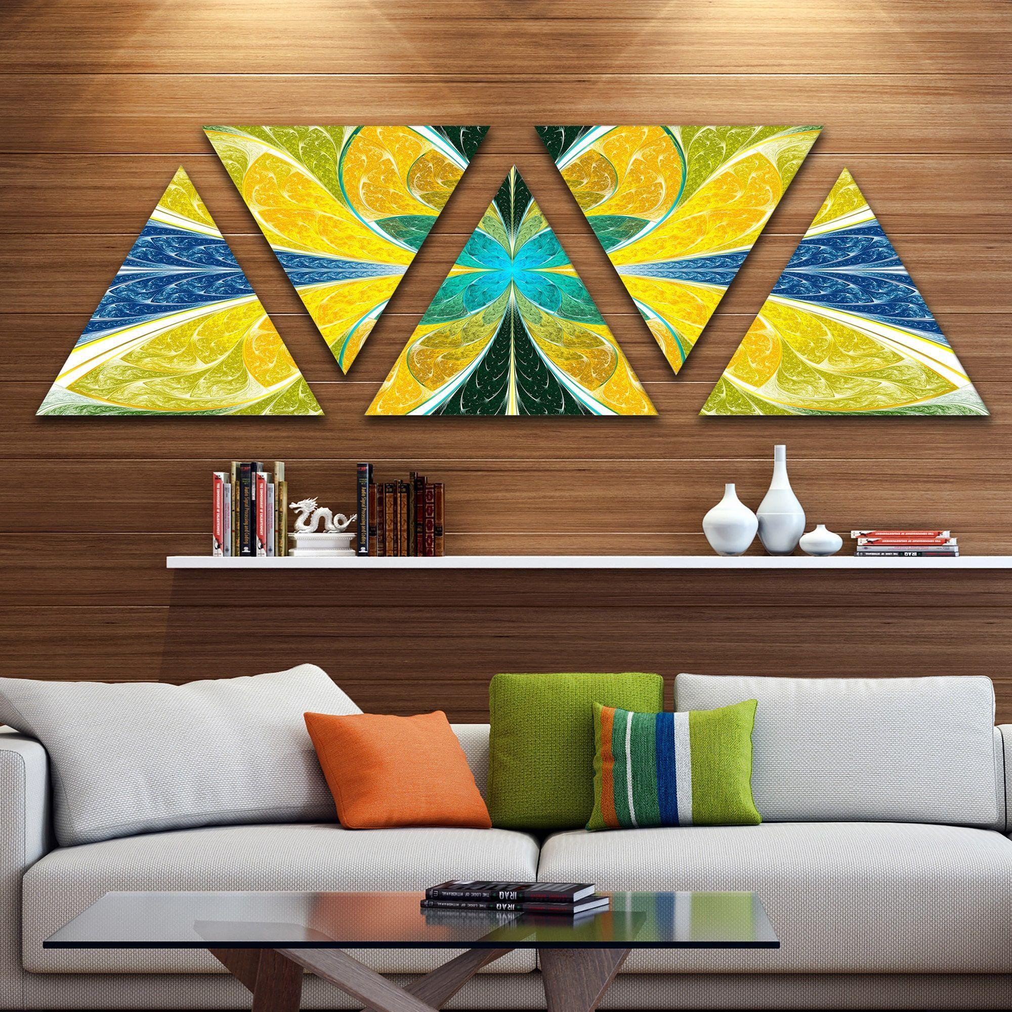 Designart uyellow fractal stained glassu contemporary wall art