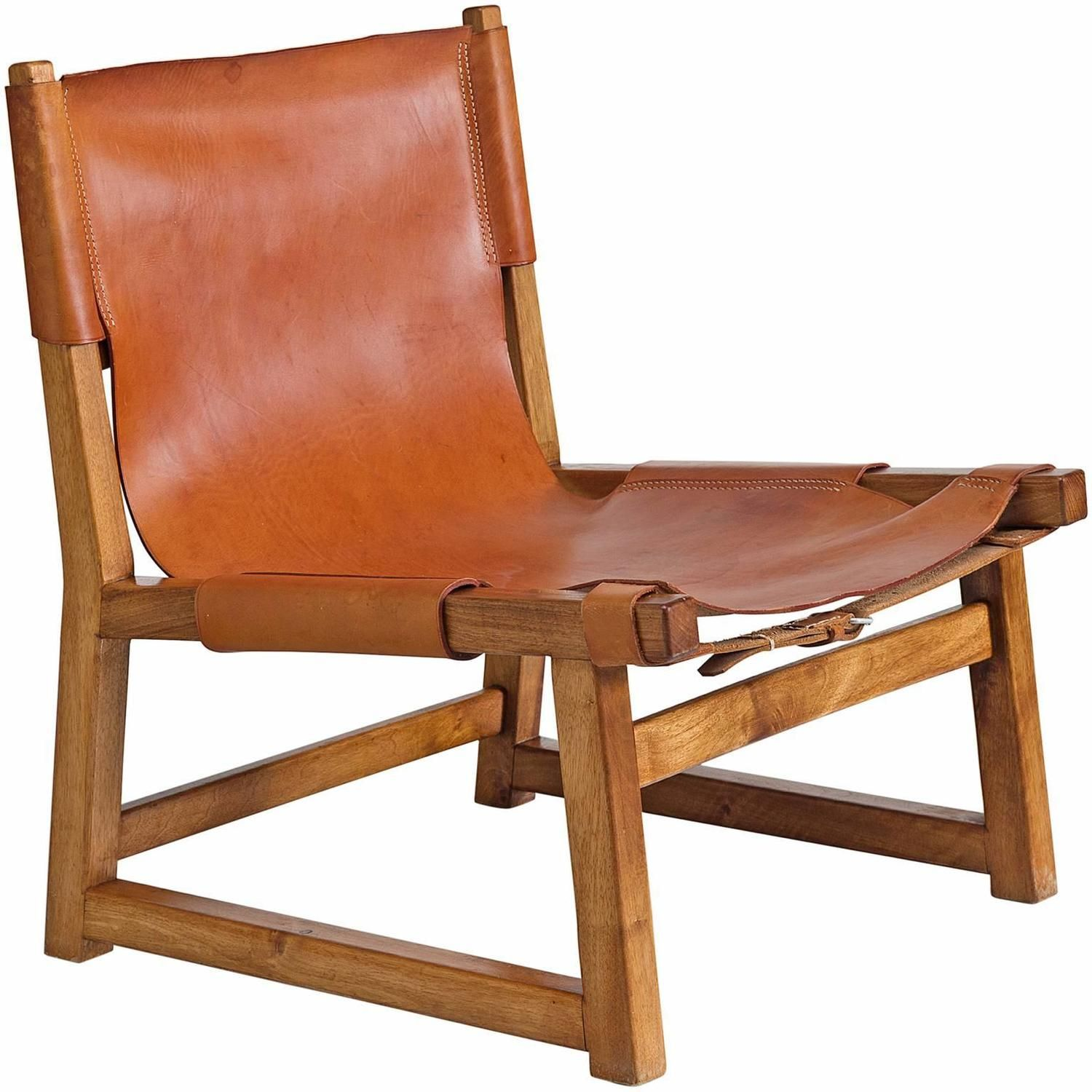 Danish hunting chair in oak and leather hunting chair
