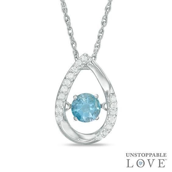 Zales Pear-Shaped Blue Topaz and Diamond Accent Teardrop Pendant in 10K Gold dx7dAM9