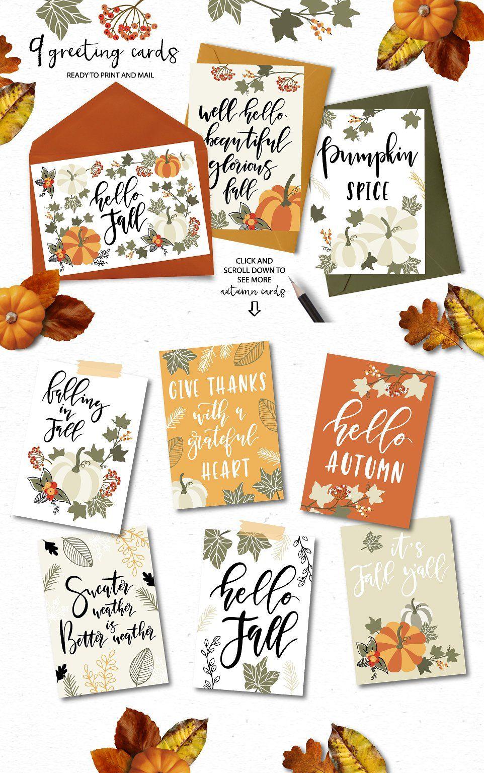 Autumn u fall clip art quotes by lokko studio on creativemarket