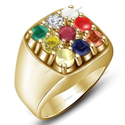 Multi Color Yellow Gold Finish Silver Gemstone Navratna Men s
