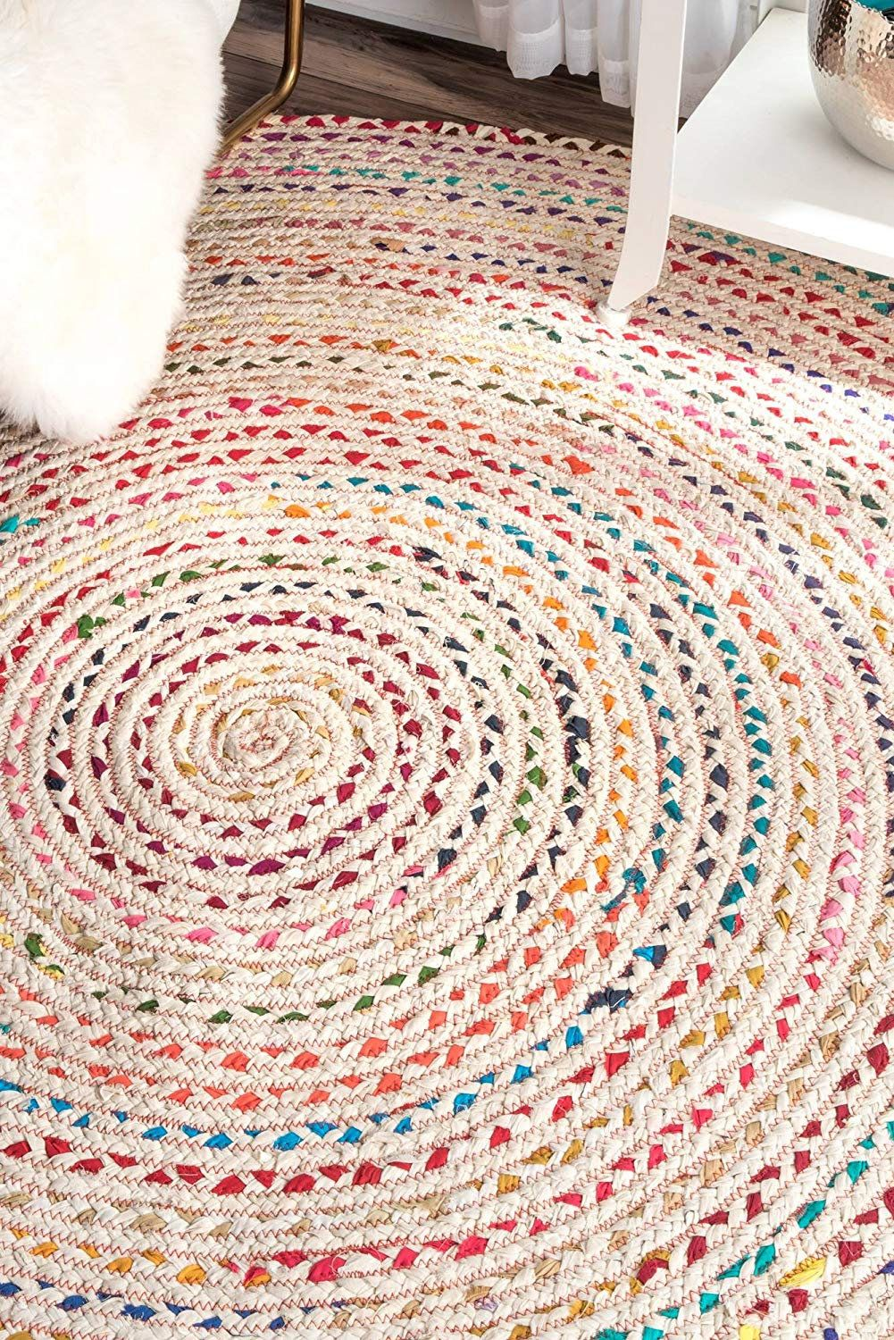 Hand Braided Bohemian Colorful Cotton Jut Area Rug Round Rug Blue Colors Home Decor Rugs Round Shape 5 Feet Diameter Ci Colorful Area Rug Circle Rug Floor Rugs