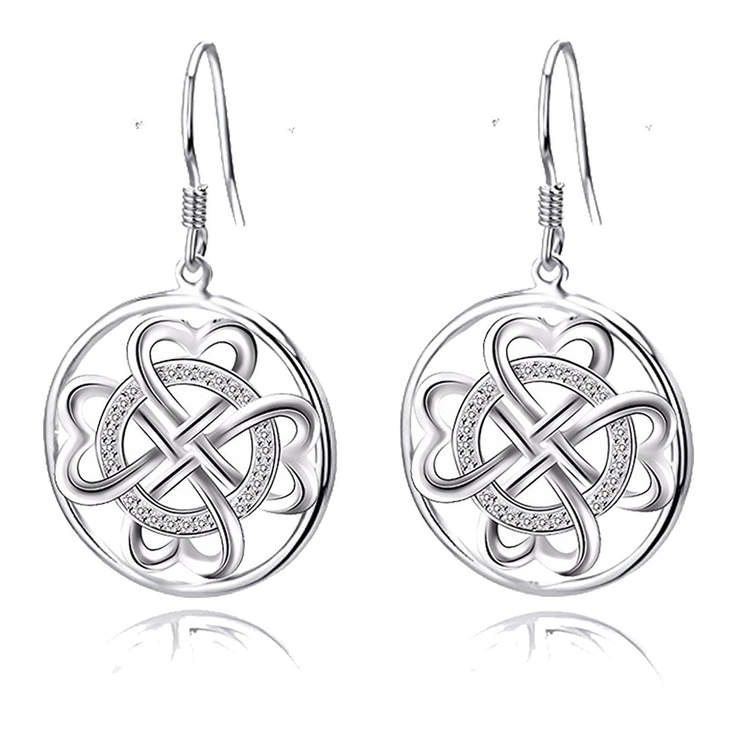 Sterling Silver Celtic Knot Round Drop Wire Earrings (Round Celtic ...
