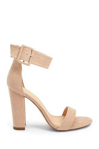 32deb97948e Faux Suede Ankle-Wrap Heels in 2019 | Products | Heels, Heeled mules ...