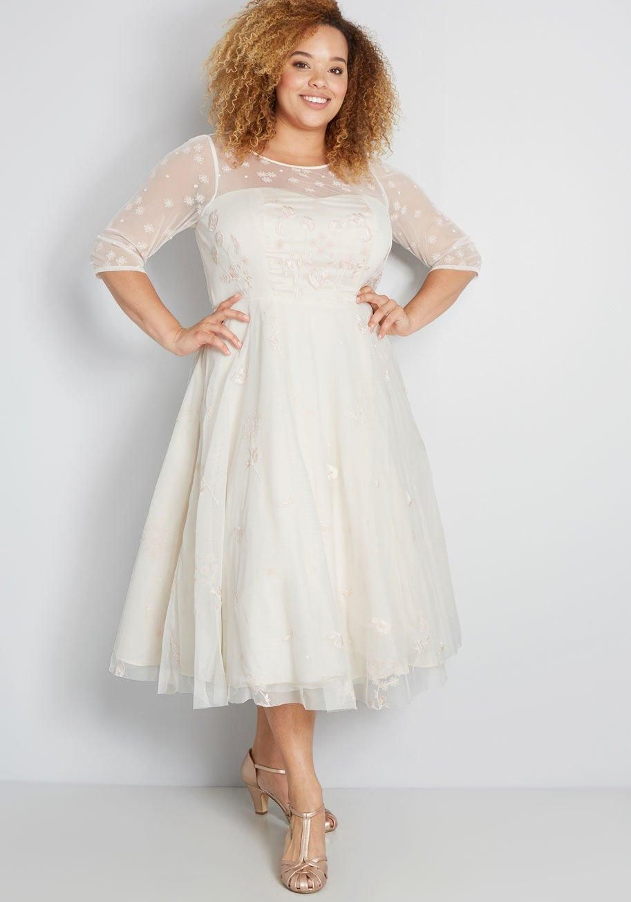 ee8a76f89541 Dream Celebration Fit and Flare Dress This ivory dress from our ModCloth  namesake label brings your
