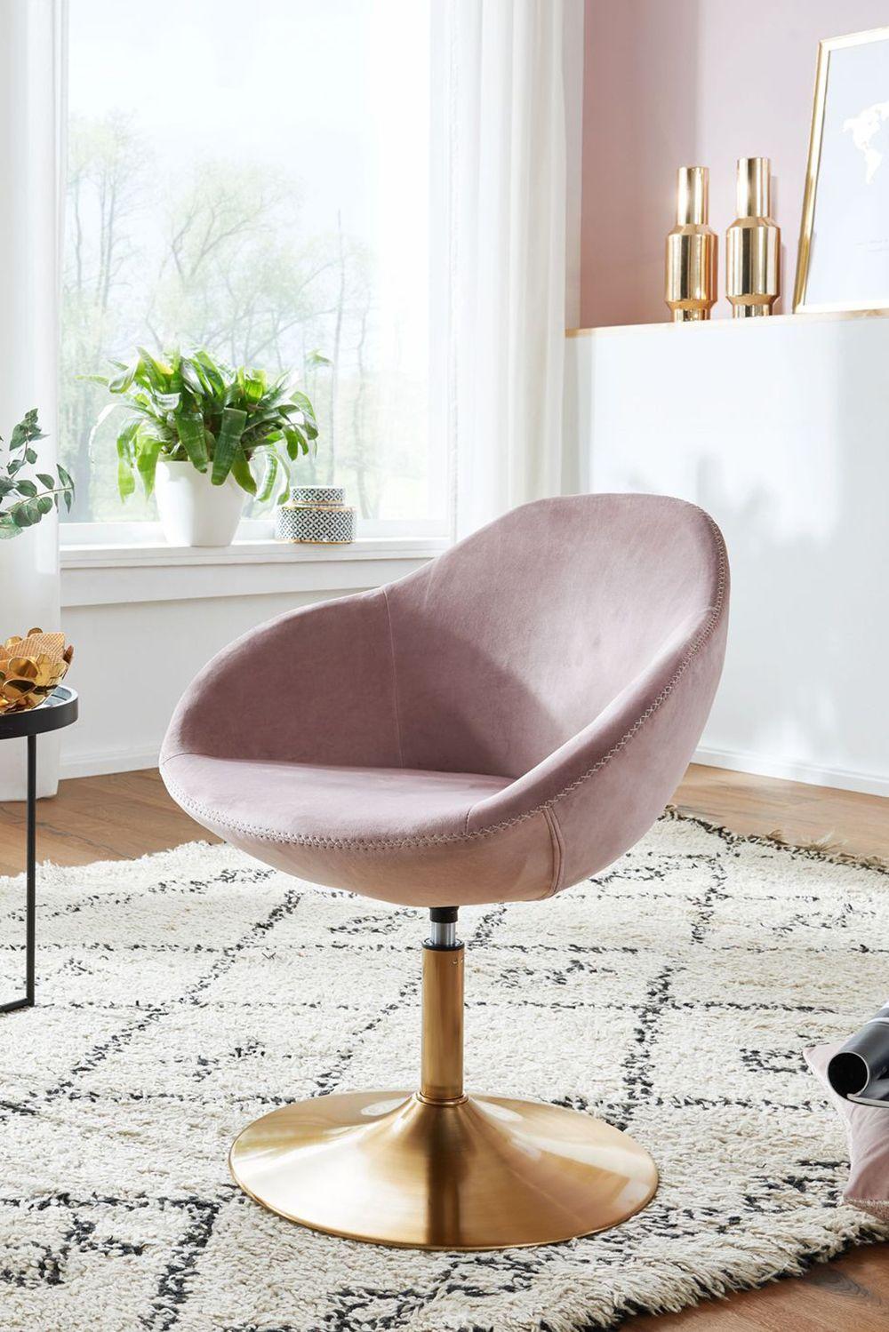 WOHNLING Loungesessel SARIN Samt Rosa / Gold 3x3x3 cm Design