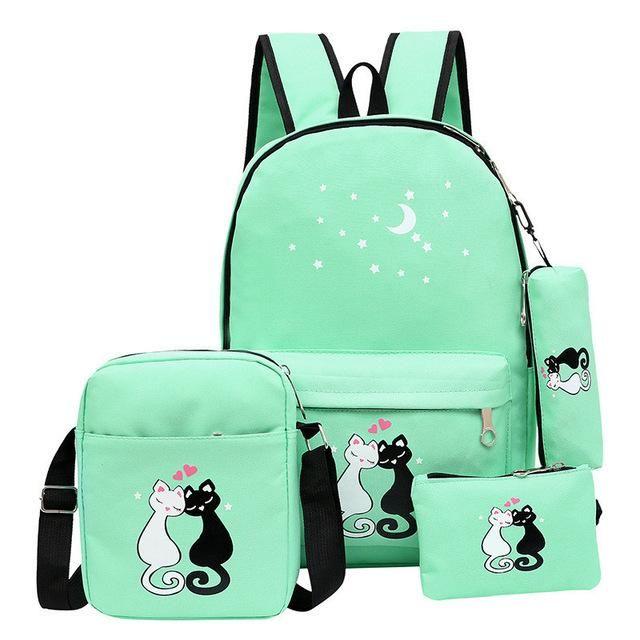Brand 4 Pcs set Women Backpacks Cute Cat School Bags For Teenage Girls  Printing Canvas Backpacks Ladies Shoulder Bags 610db4f6a32d0