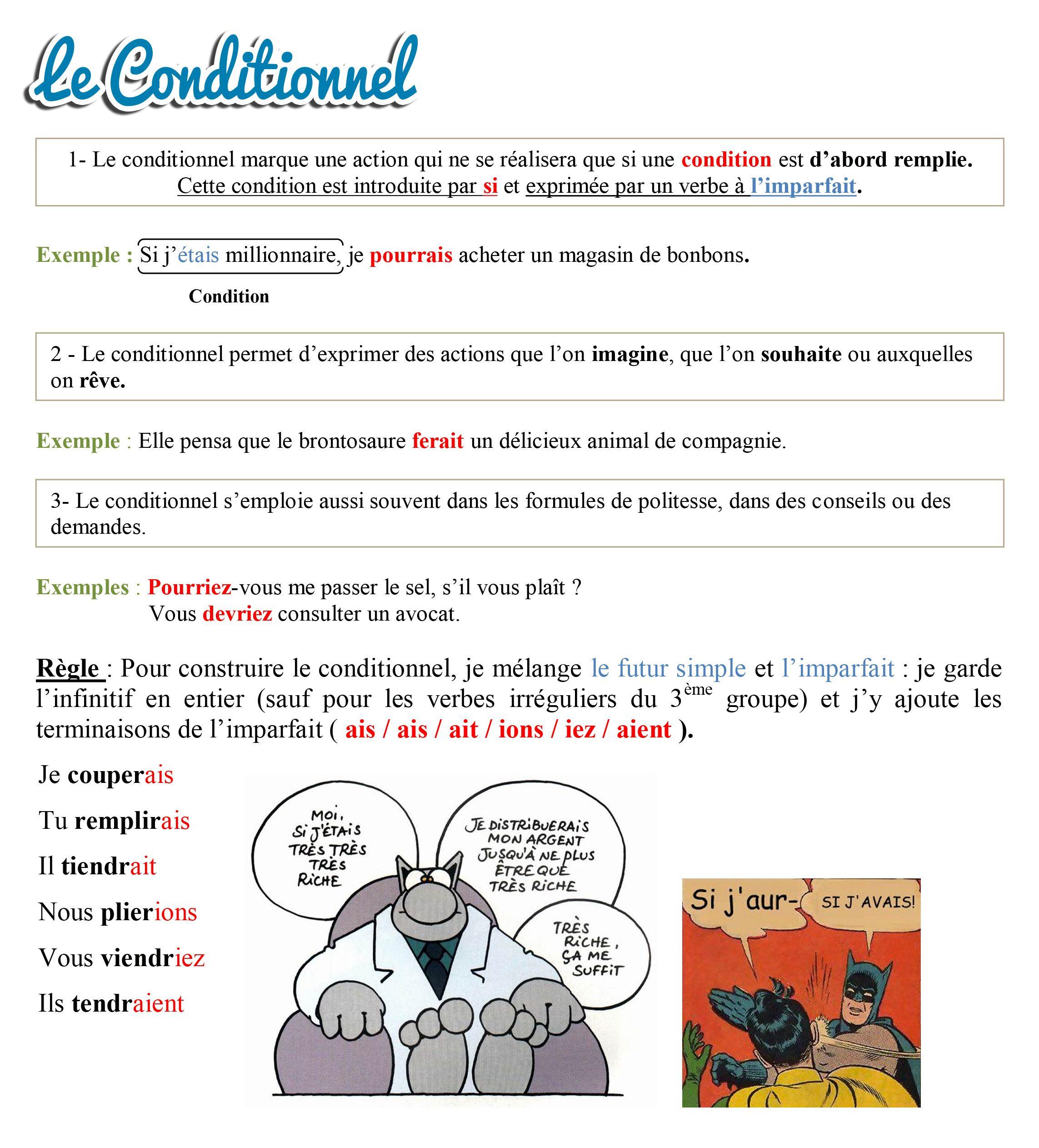 Conditionnel   PASSION FLE   Imparare il francese, Scuola, Francese