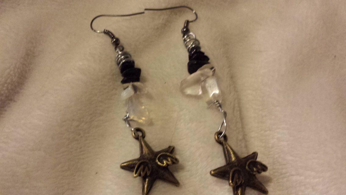 Moonstone and black Kaspersky earrings with stars