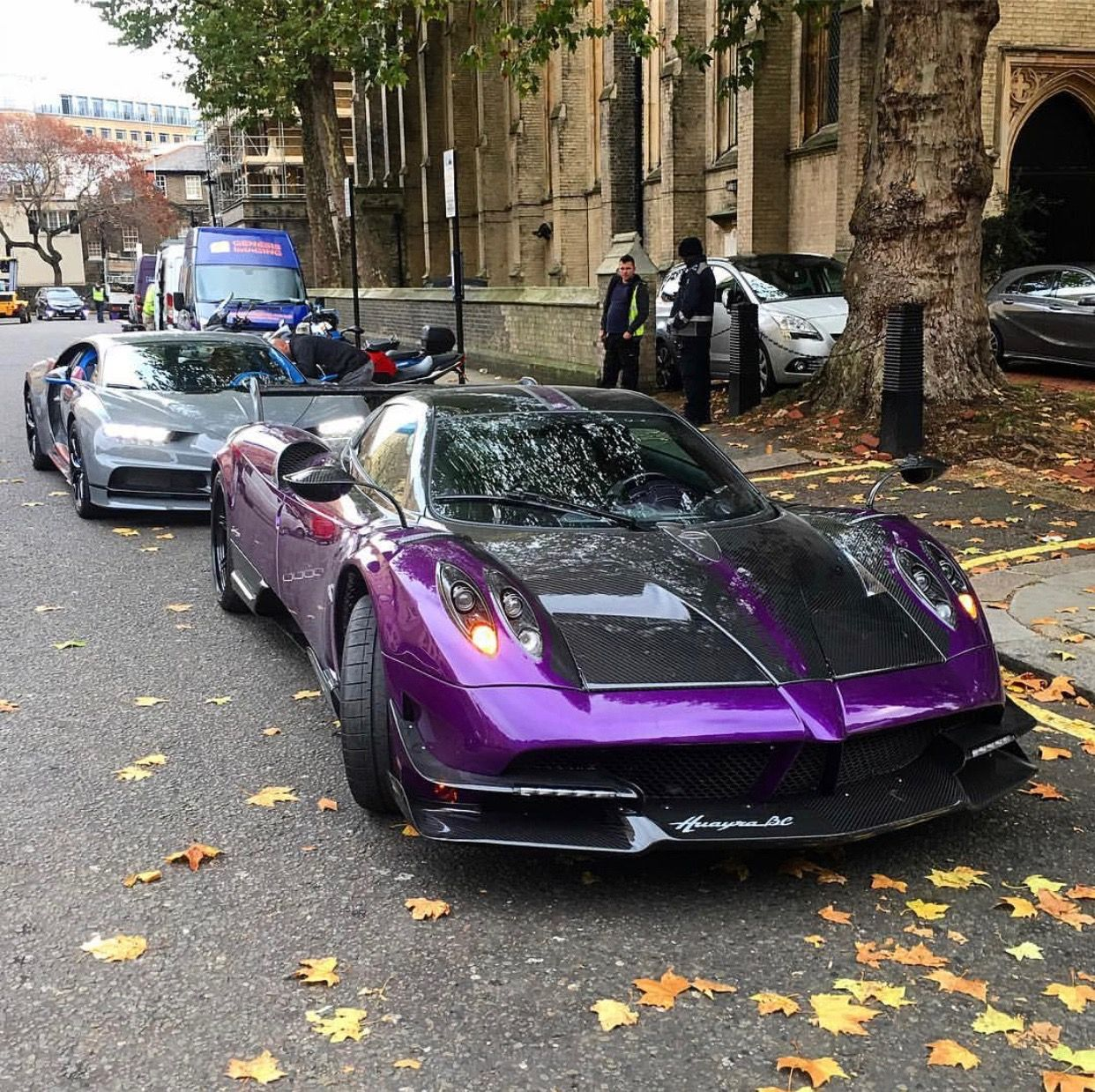 pagani huayra bc painted in purple w/ exposed carbon fiber and a