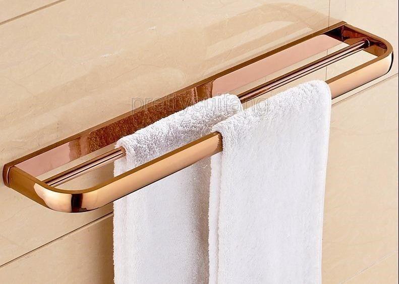 Photo of Rose gold brass wall mounted bathroom bath towel bar Pba866, #bar #bat …