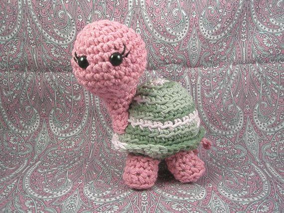 Amigurumi Cotton Yarn : Cute Crochet Turtle Stuffed Animal Amigurumi cotton yarn ...
