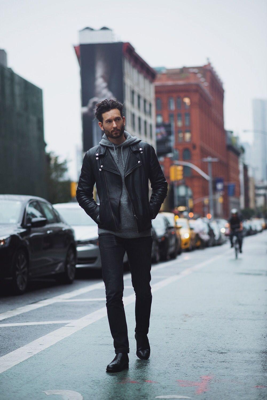 Black leather jacket + gray hooded sweat shirt + black
