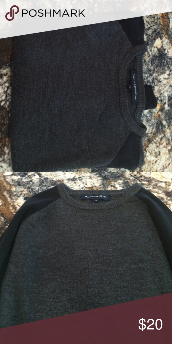 French connection sweater Black and gray French connection sweater XL like new. French Connection Sweaters Crew & Scoop Necks