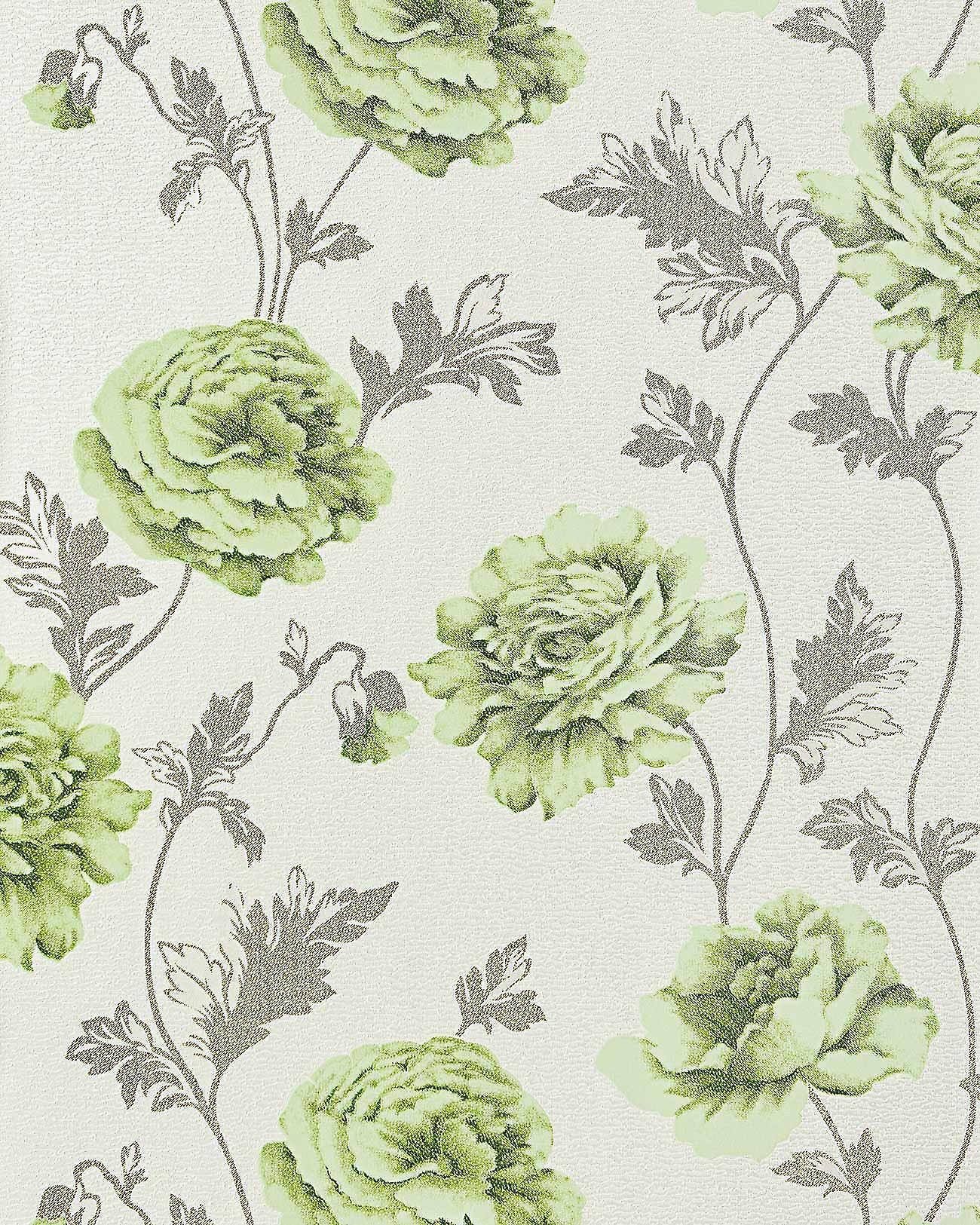 Flowers Wallpaper Country House EDEM 086 25 Romantic Floral Vinyl Roses Crashoptik Light Beige Green