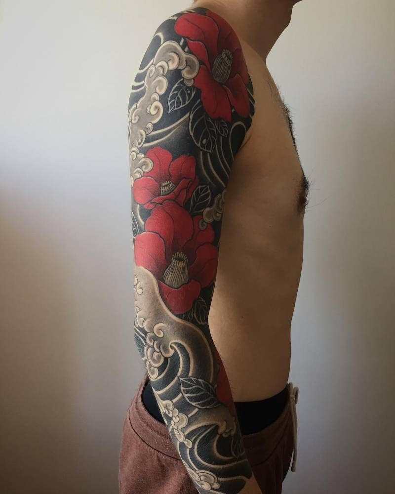 Japanese Style Inspired Healed Freehand Sleeve Tattoos Tebori