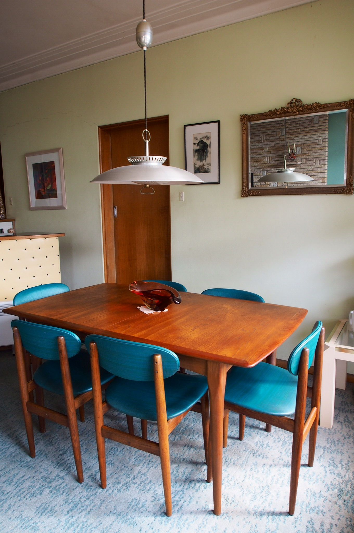 Parker Teak Extendable Table And Six Chairs Not But Australian Made Covered In Teal Vinyl Hanging Light 1959 60